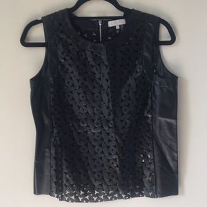 1. State vegan leather cut out top